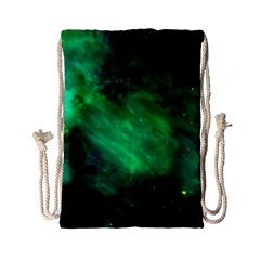 Green Space All Universe Cosmos Galaxy Drawstring Bag (small) by Nexatart