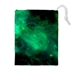 Green Space All Universe Cosmos Galaxy Drawstring Pouches (extra Large) by Nexatart