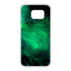 Green Space All Universe Cosmos Galaxy Samsung Galaxy S7 Edge White Seamless Case