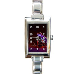 Moscow Night Lights Evening City Rectangle Italian Charm Watch