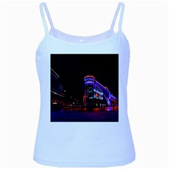 Moscow Night Lights Evening City Baby Blue Spaghetti Tank