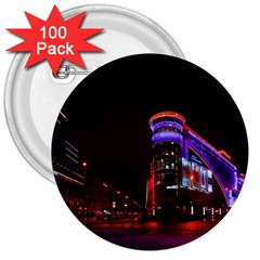 Moscow Night Lights Evening City 3  Buttons (100 Pack)