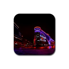 Moscow Night Lights Evening City Rubber Coaster (square)  by Nexatart