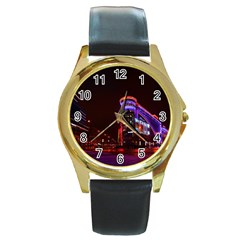 Moscow Night Lights Evening City Round Gold Metal Watch