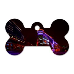 Moscow Night Lights Evening City Dog Tag Bone (two Sides) by Nexatart
