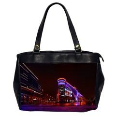 Moscow Night Lights Evening City Office Handbags (2 Sides)  by Nexatart