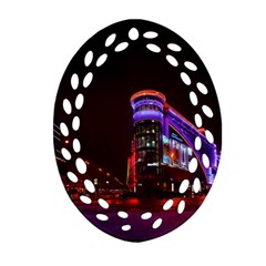 Moscow Night Lights Evening City Ornament (oval Filigree)