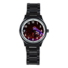 Moscow Night Lights Evening City Stainless Steel Round Watch