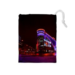 Moscow Night Lights Evening City Drawstring Pouches (medium)