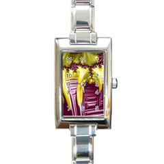 Yellow Magenta Abstract Fractal Rectangle Italian Charm Watch by Nexatart