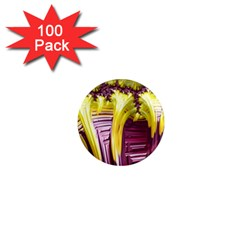 Yellow Magenta Abstract Fractal 1  Mini Magnets (100 Pack)