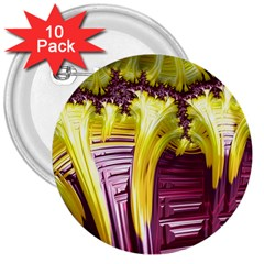 Yellow Magenta Abstract Fractal 3  Buttons (10 Pack)