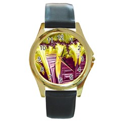 Yellow Magenta Abstract Fractal Round Gold Metal Watch