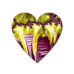 Yellow Magenta Abstract Fractal Heart Magnet by Nexatart