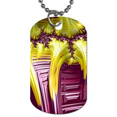 Yellow Magenta Abstract Fractal Dog Tag (two Sides)