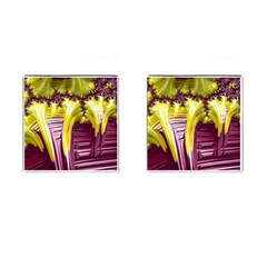 Yellow Magenta Abstract Fractal Cufflinks (square) by Nexatart
