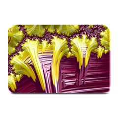 Yellow Magenta Abstract Fractal Plate Mats