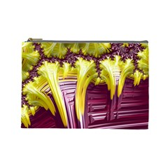 Yellow Magenta Abstract Fractal Cosmetic Bag (large)