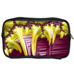 Yellow Magenta Abstract Fractal Toiletries Bags 2 Side