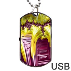 Yellow Magenta Abstract Fractal Dog Tag Usb Flash (two Sides) by Nexatart
