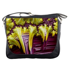 Yellow Magenta Abstract Fractal Messenger Bags