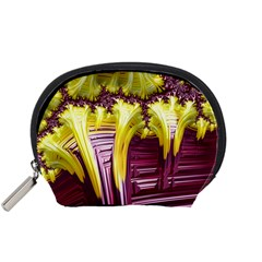 Yellow Magenta Abstract Fractal Accessory Pouches (small)  by Nexatart