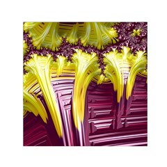Yellow Magenta Abstract Fractal Small Satin Scarf (square)