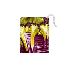 Yellow Magenta Abstract Fractal Drawstring Pouches (xs)