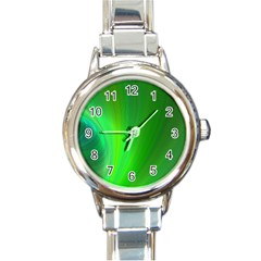 Green Background Abstract Color Round Italian Charm Watch