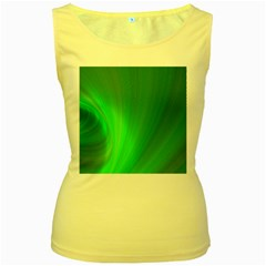 Green Background Abstract Color Women s Yellow Tank Top