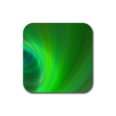 Green Background Abstract Color Rubber Square Coaster (4 Pack)