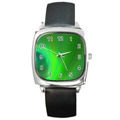 Green Background Abstract Color Square Metal Watch