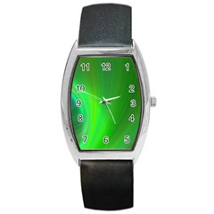 Green Background Abstract Color Barrel Style Metal Watch