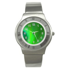 Green Background Abstract Color Stainless Steel Watch