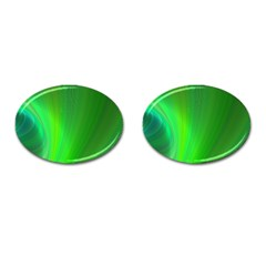 Green Background Abstract Color Cufflinks (oval)