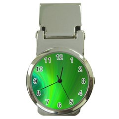 Green Background Abstract Color Money Clip Watches