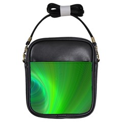 Green Background Abstract Color Girls Sling Bags