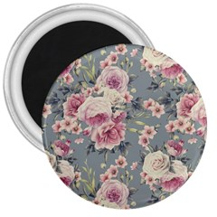 Pink Flower Seamless Design Floral 3  Magnets by Nexatart
