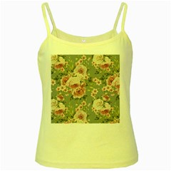 Pink Flower Seamless Design Floral Yellow Spaghetti Tank