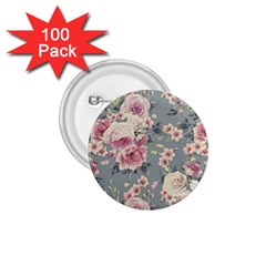 Pink Flower Seamless Design Floral 1 75  Buttons (100 Pack)