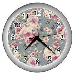 Pink Flower Seamless Design Floral Wall Clocks (silver)