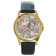 Pink Flower Seamless Design Floral Round Gold Metal Watch