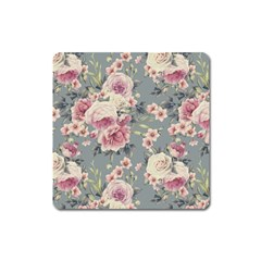 Pink Flower Seamless Design Floral Square Magnet