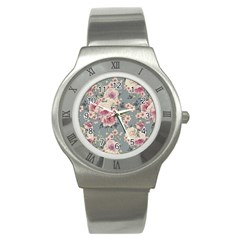 Pink Flower Seamless Design Floral Stainless Steel Watch