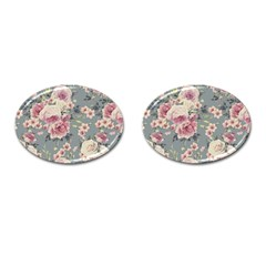 Pink Flower Seamless Design Floral Cufflinks (oval)