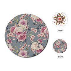 Pink Flower Seamless Design Floral Playing Cards (round)