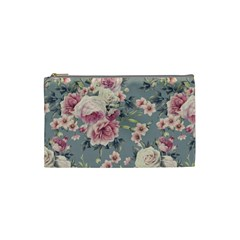 Pink Flower Seamless Design Floral Cosmetic Bag (small)  by Nexatart