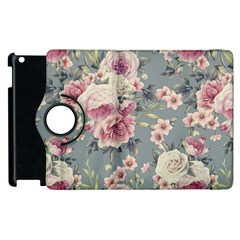 Pink Flower Seamless Design Floral Apple Ipad 3/4 Flip 360 Case