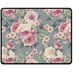 Pink Flower Seamless Design Floral Double Sided Fleece Blanket (medium)