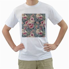 Pink Flower Seamless Design Floral Men s T Shirt (white)